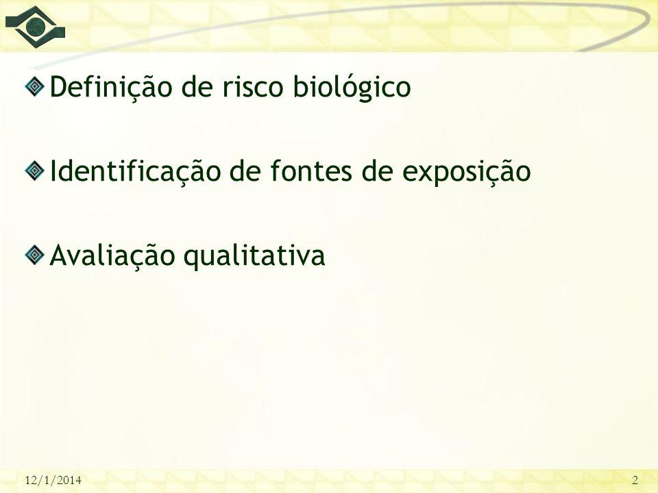 12/1/20142 Definição de risco biológico Identificação de fontes de exposição Avaliação qualitativa