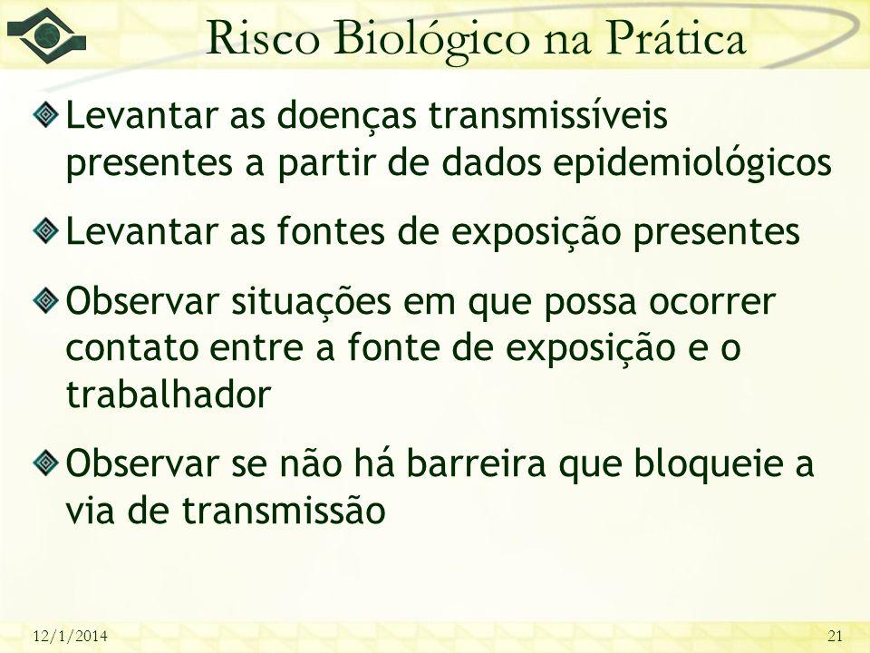 12/1/201421 Risco Biológico na Prática Levantar as doenças transmissíveis presentes a partir de dados epidemiológicos Levantar as fontes de exposição