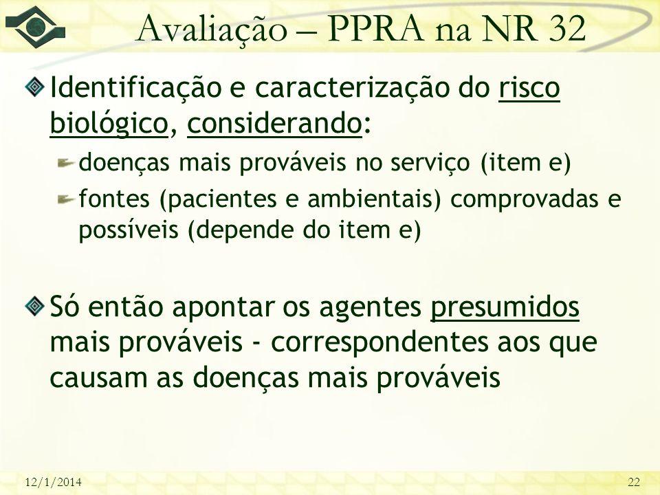 12/1/201422 Avaliação – PPRA na NR 32 Identificação e caracterização do risco biológico, considerando: doenças mais prováveis no serviço (item e) font