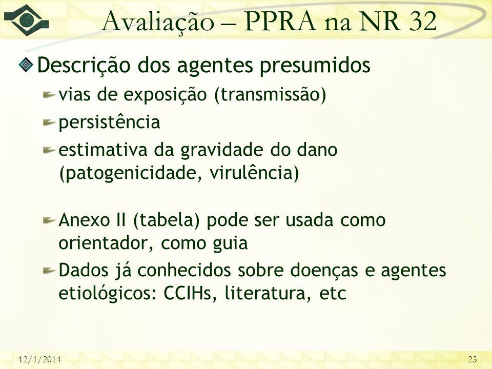 12/1/201423 Avaliação – PPRA na NR 32 Descrição dos agentes presumidos vias de exposição (transmissão) persistência estimativa da gravidade do dano (p