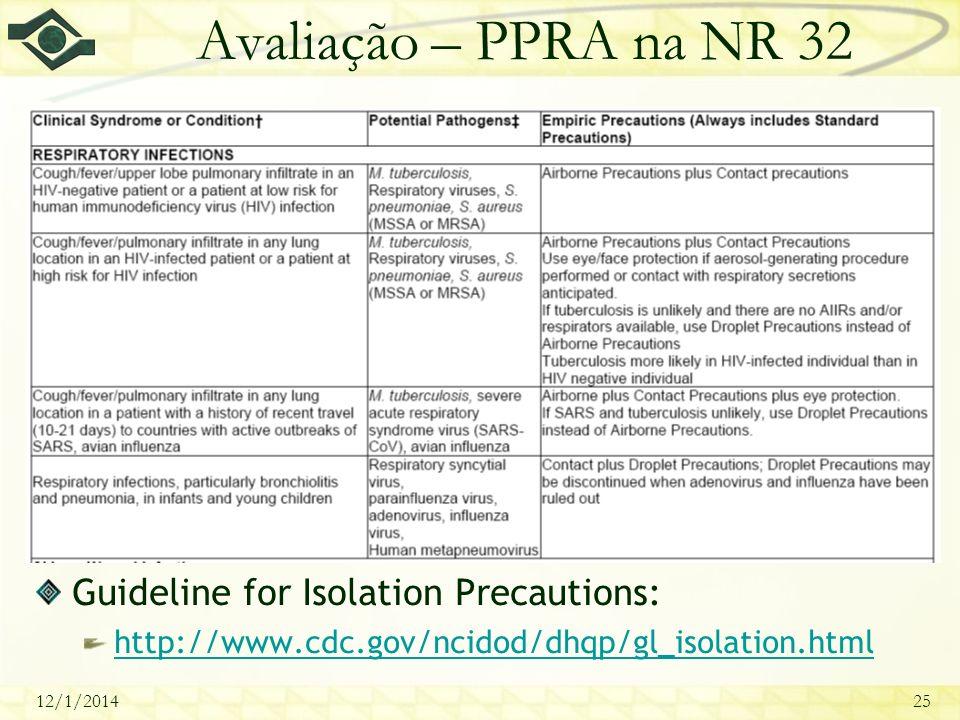 12/1/201425 Avaliação – PPRA na NR 32 Guideline for Isolation Precautions: http://www.cdc.gov/ncidod/dhqp/gl_isolation.html