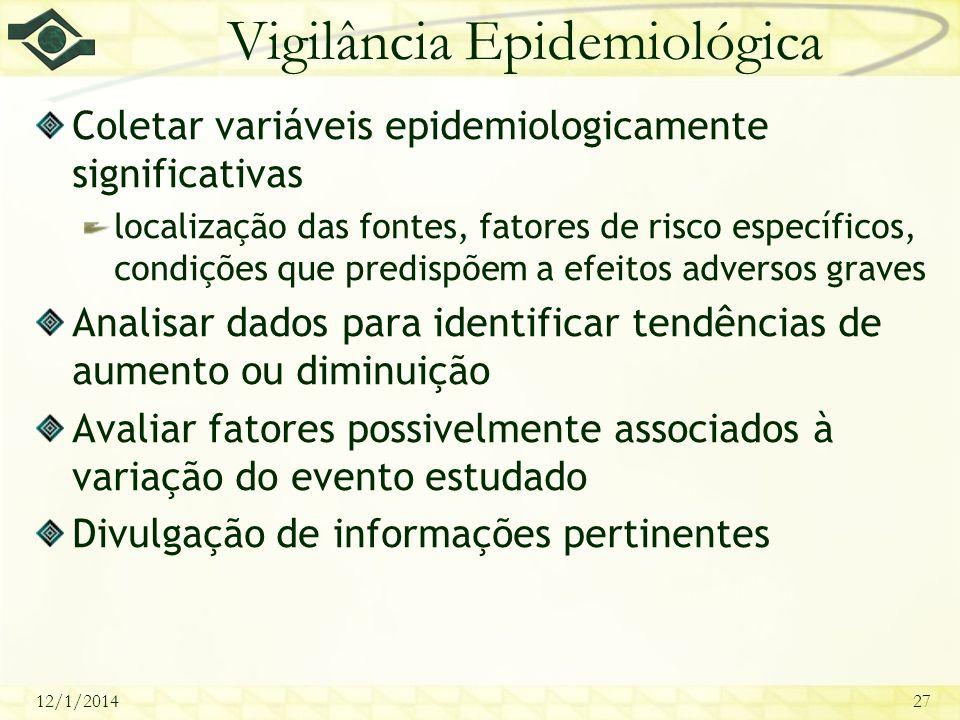 12/1/201427 Vigilância Epidemiológica Coletar variáveis epidemiologicamente significativas localização das fontes, fatores de risco específicos, condi
