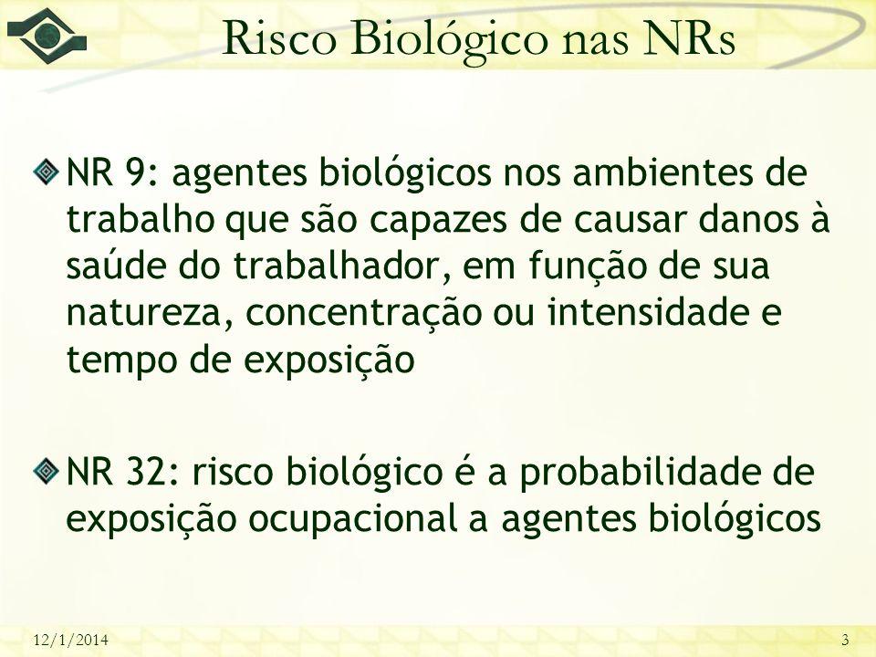 12/1/20143 Risco Biológico nas NRs NR 9: agentes biológicos nos ambientes de trabalho que são capazes de causar danos à saúde do trabalhador, em funçã
