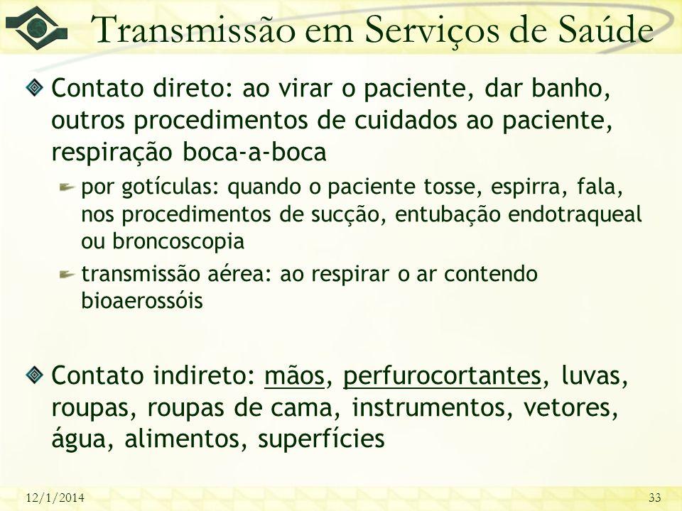 12/1/201433 Transmissão em Serviços de Saúde Contato direto: ao virar o paciente, dar banho, outros procedimentos de cuidados ao paciente, respiração