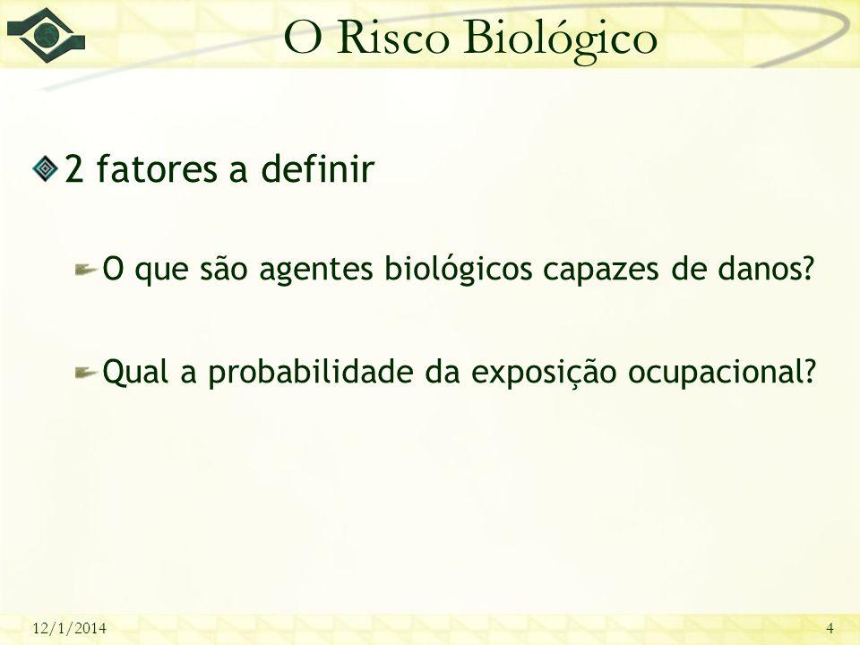 12/1/20144 O Risco Biológico 2 fatores a definir O que são agentes biológicos capazes de danos? Qual a probabilidade da exposição ocupacional?