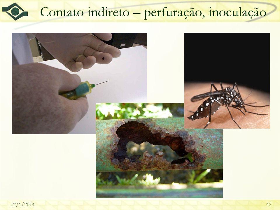 12/1/201442 Contato indireto – perfuração, inoculação