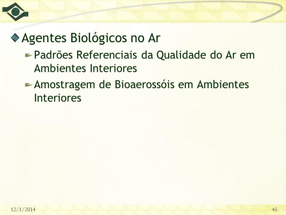 12/1/201445 Agentes Biológicos no Ar Padrões Referenciais da Qualidade do Ar em Ambientes Interiores Amostragem de Bioaerossóis em Ambientes Interiore
