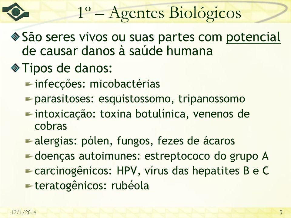 12/1/20145 1º – Agentes Biológicos São seres vivos ou suas partes com potencial de causar danos à saúde humana Tipos de danos: infecções: micobactéria