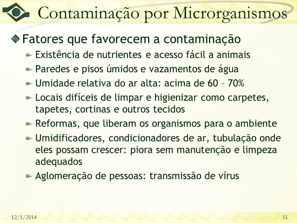 12/1/201451 Contaminação por Microrganismos Fatores que favorecem a contaminação Existência de nutrientes e acesso fácil a animais Paredes e pisos úmi