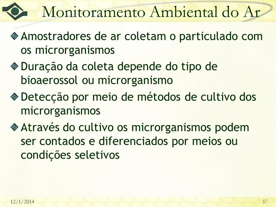 12/1/201457 Monitoramento Ambiental do Ar Amostradores de ar coletam o particulado com os microrganismos Duração da coleta depende do tipo de bioaeros