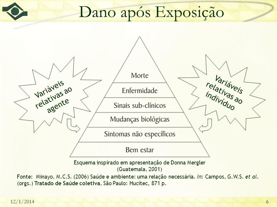 12/1/20146 Dano após Exposição Esquema inspirado em apresentação de Donna Mergler (Guatemala, 2001) Fonte: Minayo, M.C.S. (2006) Saúde e ambiente: uma