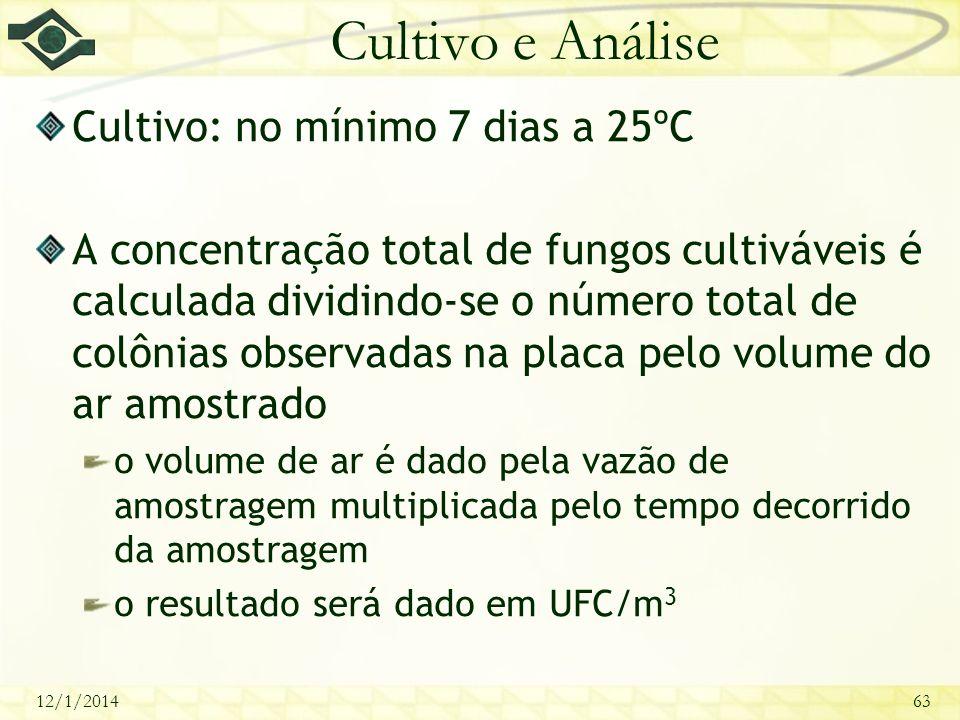 12/1/201463 Cultivo e Análise Cultivo: no mínimo 7 dias a 25ºC A concentração total de fungos cultiváveis é calculada dividindo-se o número total de c