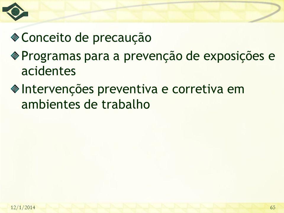 12/1/201465 Conceito de precaução Programas para a prevenção de exposições e acidentes Intervenções preventiva e corretiva em ambientes de trabalho