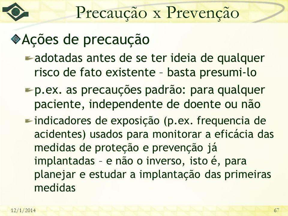 12/1/201467 Precaução x Prevenção Ações de precaução adotadas antes de se ter ideia de qualquer risco de fato existente – basta presumi-lo p.ex. as pr