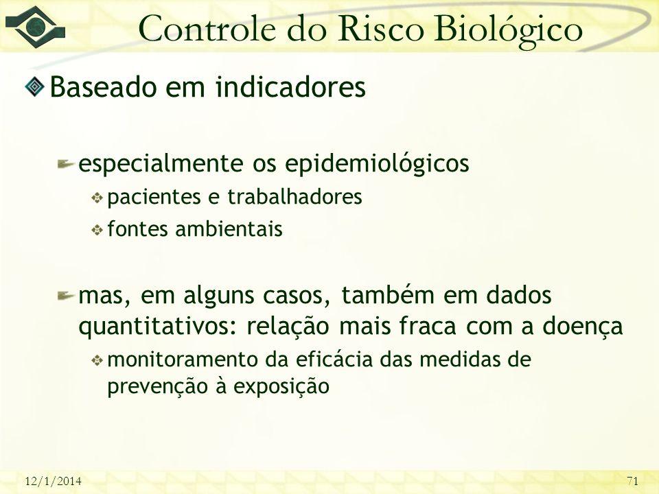 12/1/201471 Controle do Risco Biológico Baseado em indicadores especialmente os epidemiológicos pacientes e trabalhadores fontes ambientais mas, em al