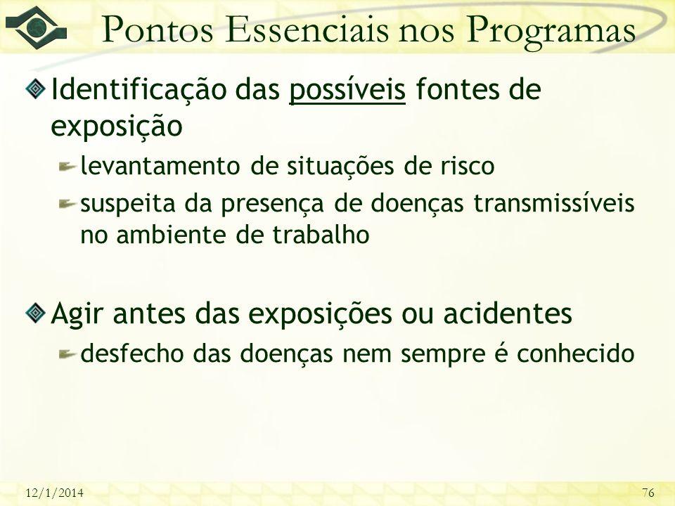 12/1/201476 Pontos Essenciais nos Programas Identificação das possíveis fontes de exposição levantamento de situações de risco suspeita da presença de