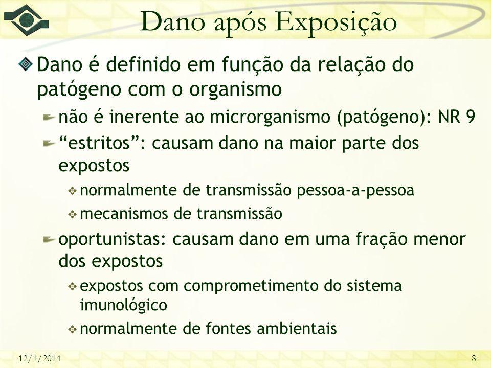 12/1/20148 Dano após Exposição Dano é definido em função da relação do patógeno com o organismo não é inerente ao microrganismo (patógeno): NR 9 estri