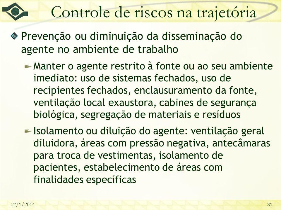 12/1/201481 Controle de riscos na trajetória Prevenção ou diminuição da disseminação do agente no ambiente de trabalho Manter o agente restrito à font