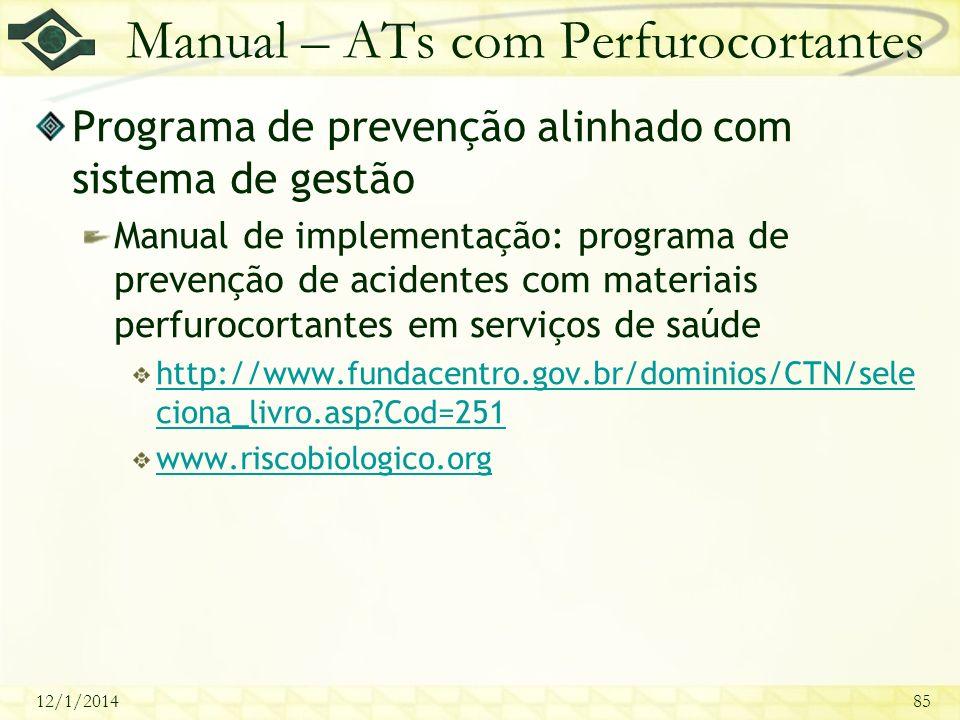 12/1/201485 Manual – ATs com Perfurocortantes Programa de prevenção alinhado com sistema de gestão Manual de implementação: programa de prevenção de a