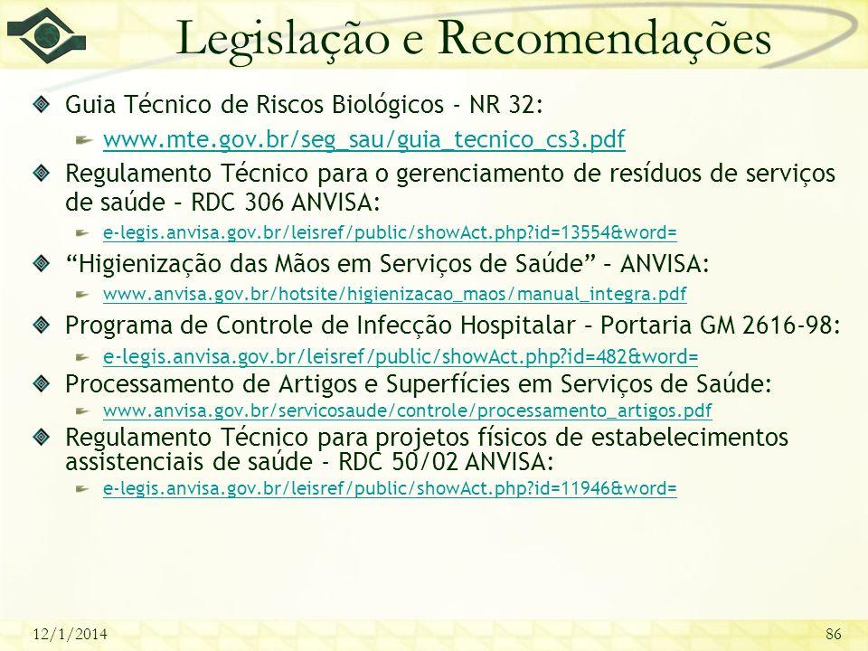 12/1/201486 Legislação e Recomendações Guia Técnico de Riscos Biológicos - NR 32: www.mte.gov.br/seg_sau/guia_tecnico_cs3.pdf Regulamento Técnico para