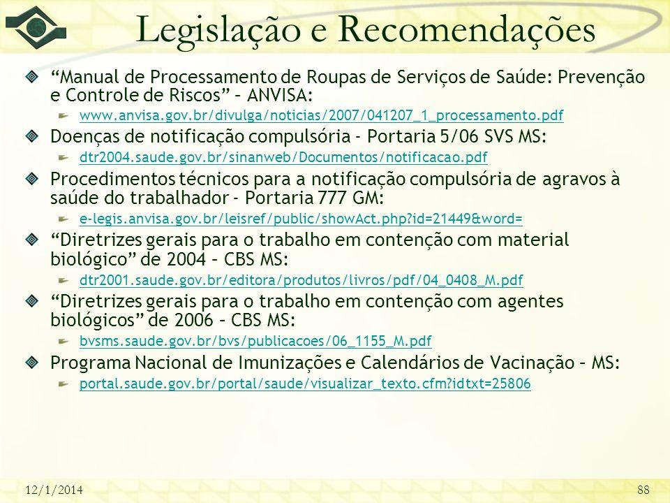12/1/201488 Legislação e Recomendações Manual de Processamento de Roupas de Serviços de Saúde: Prevenção e Controle de Riscos – ANVISA: www.anvisa.gov