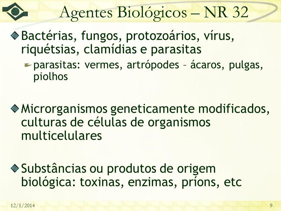 12/1/20149 Agentes Biológicos – NR 32 Bactérias, fungos, protozoários, vírus, riquétsias, clamídias e parasitas parasitas: vermes, artrópodes – ácaros