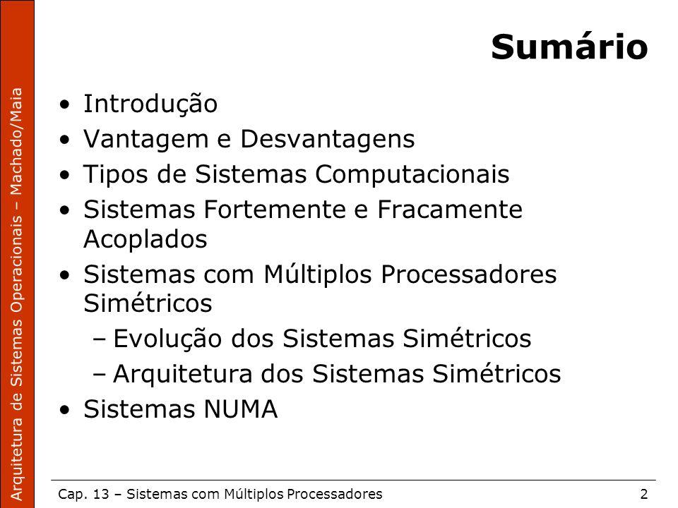 Arquitetura de Sistemas Operacionais – Machado/Maia Cap. 13 – Sistemas com Múltiplos Processadores2 Sumário Introdução Vantagem e Desvantagens Tipos d