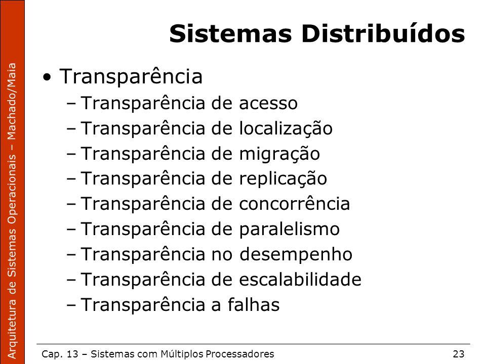 Arquitetura de Sistemas Operacionais – Machado/Maia Cap. 13 – Sistemas com Múltiplos Processadores23 Sistemas Distribuídos Transparência –Transparênci