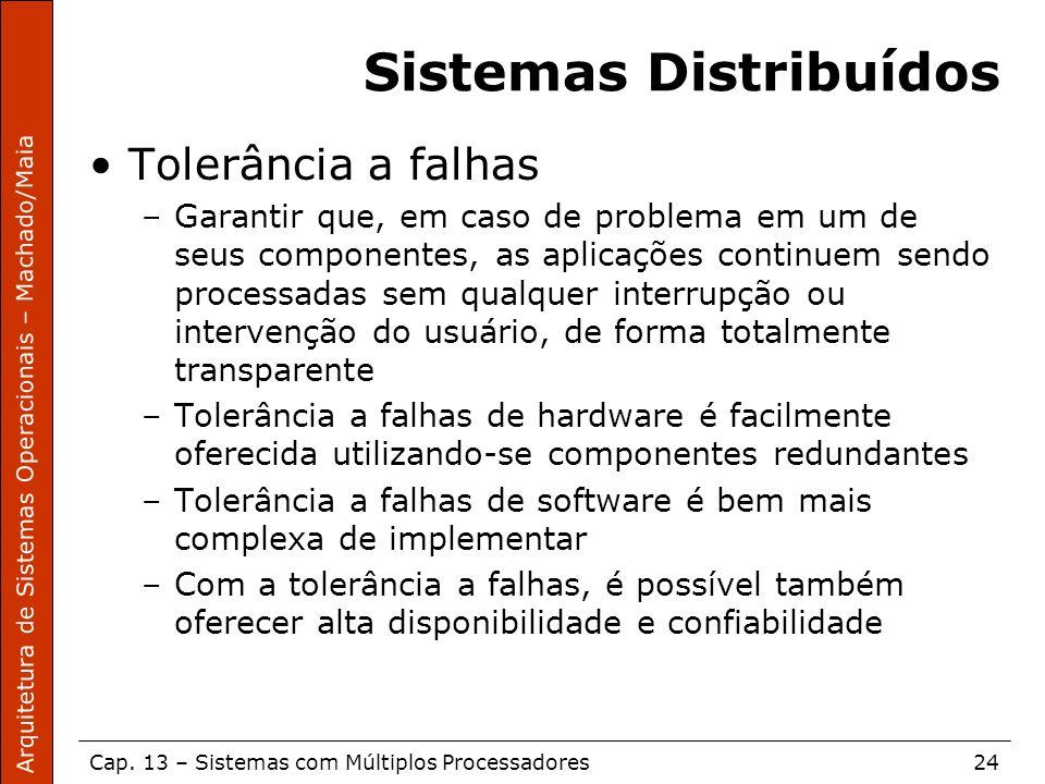 Arquitetura de Sistemas Operacionais – Machado/Maia Cap. 13 – Sistemas com Múltiplos Processadores24 Sistemas Distribuídos Tolerância a falhas –Garant