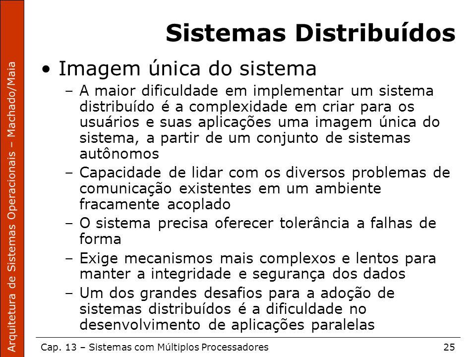 Arquitetura de Sistemas Operacionais – Machado/Maia Cap. 13 – Sistemas com Múltiplos Processadores25 Sistemas Distribuídos Imagem única do sistema –A