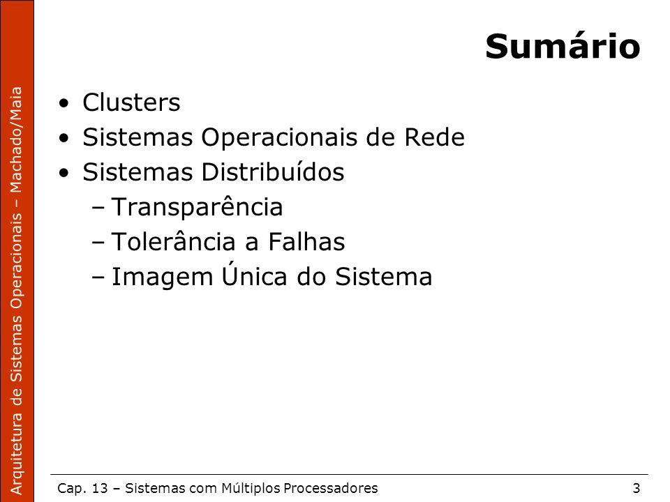 Arquitetura de Sistemas Operacionais – Machado/Maia Cap. 13 – Sistemas com Múltiplos Processadores3 Sumário Clusters Sistemas Operacionais de Rede Sis