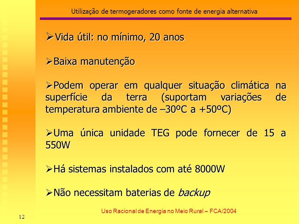 Utilização de termogeradores como fonte de energia alternativa 12 Uso Racional de Energia no Meio Rural – FCA/2004 Vida útil: no mínimo, 20 anos Vida