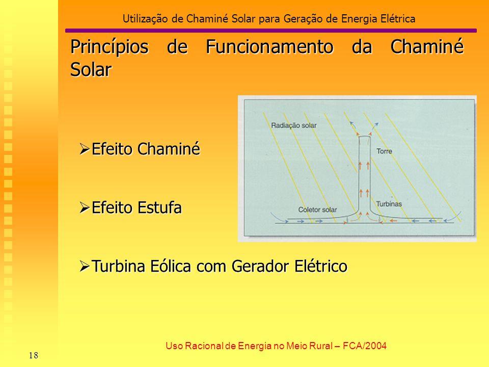 Utilização de Chaminé Solar para Geração de Energia Elétrica 18 Uso Racional de Energia no Meio Rural – FCA/2004 Efeito Chaminé Efeito Chaminé Efeito