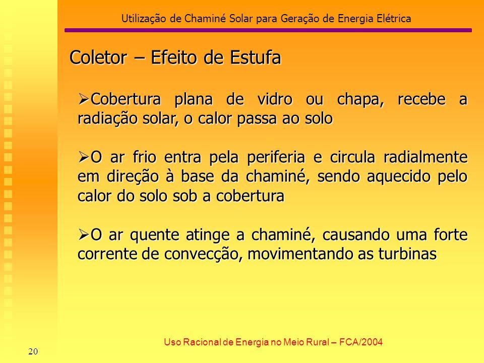 Utilização de Chaminé Solar para Geração de Energia Elétrica 20 Uso Racional de Energia no Meio Rural – FCA/2004 Cobertura plana de vidro ou chapa, re