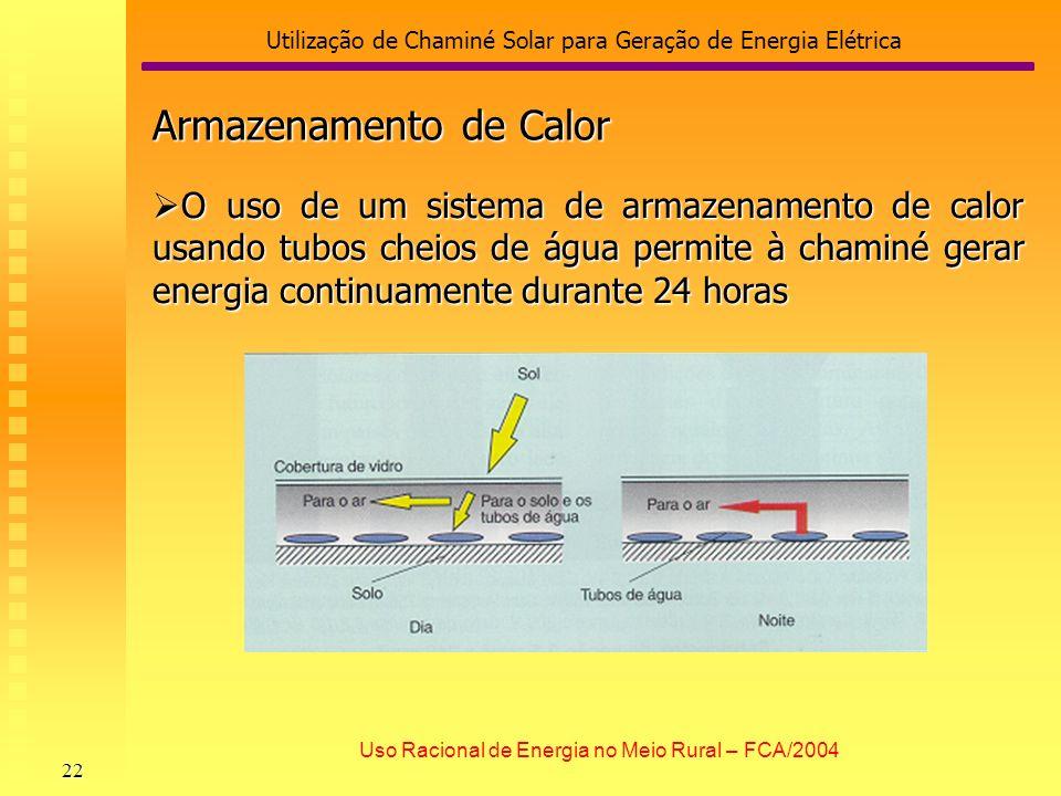 Utilização de Chaminé Solar para Geração de Energia Elétrica 22 Uso Racional de Energia no Meio Rural – FCA/2004 Armazenamento de Calor O uso de um si