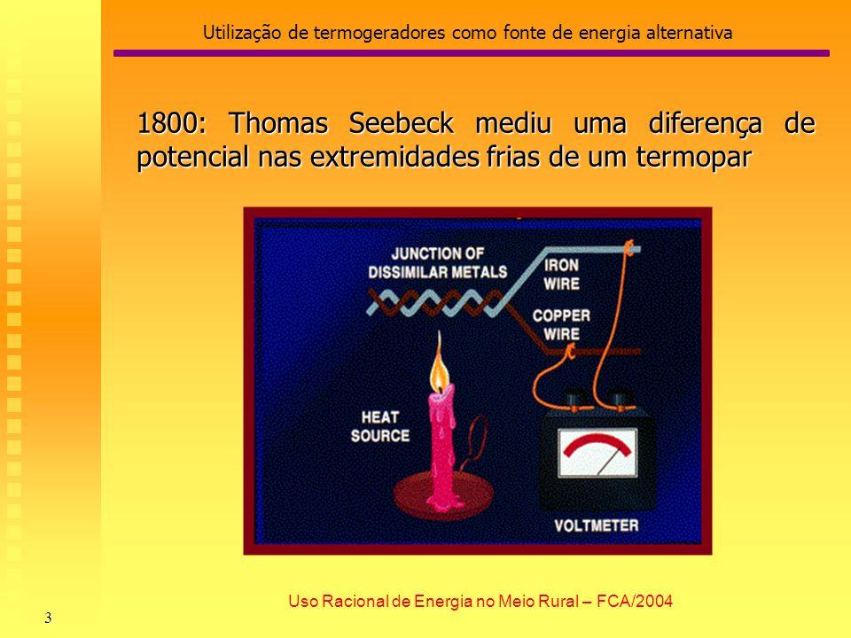 Utilização de termogeradores como fonte de energia alternativa 4 Uso Racional de Energia no Meio Rural – FCA/2004 Principal Vantagem da Termogeração: por ser um processo sólido de conversão da energia térmica em energia elétrica, não possui partes móveis.