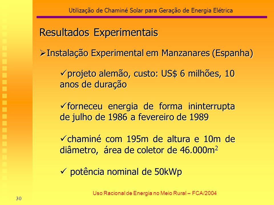 Utilização de Chaminé Solar para Geração de Energia Elétrica 30 Uso Racional de Energia no Meio Rural – FCA/2004 Resultados Experimentais Instalação E