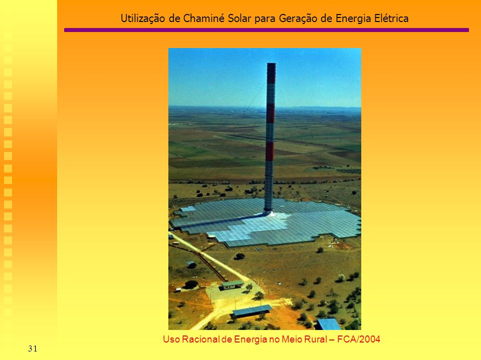 Utilização de Chaminé Solar para Geração de Energia Elétrica 31 Uso Racional de Energia no Meio Rural – FCA/2004