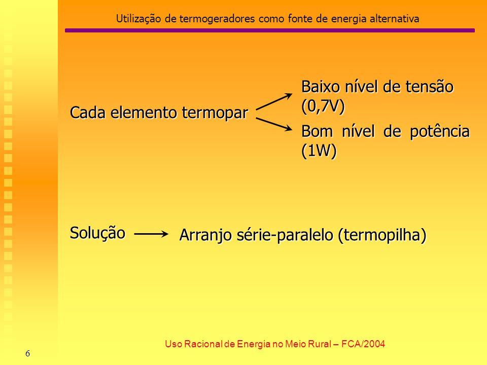 Utilização de termogeradores como fonte de energia alternativa 7 Uso Racional de Energia no Meio Rural – FCA/2004 O módulo termelétrico selado (termopilha) obs: Parte quente = 540ºC, Parte fria= 140ºC