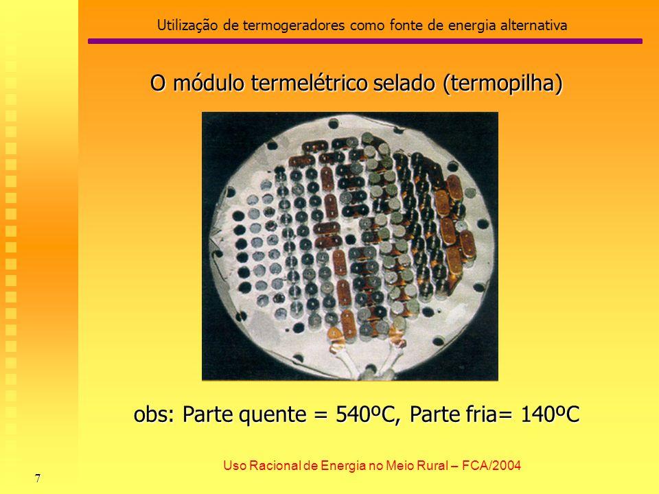 Utilização de termogeradores como fonte de energia alternativa 7 Uso Racional de Energia no Meio Rural – FCA/2004 O módulo termelétrico selado (termop