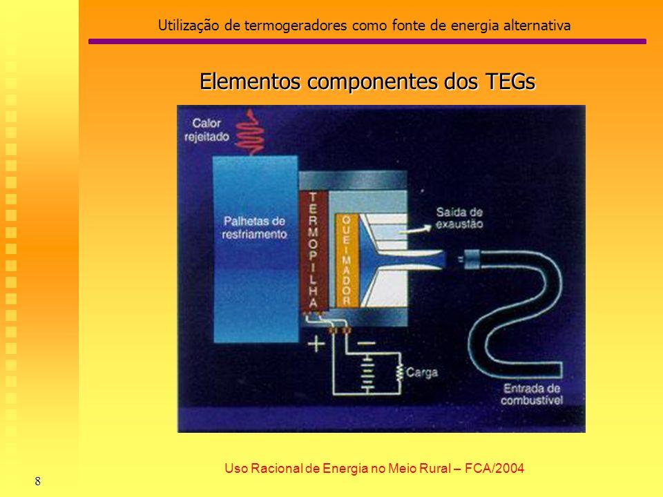 Utilização de termogeradores como fonte de energia alternativa 9 Uso Racional de Energia no Meio Rural – FCA/2004 Fonte de Calor: queimadores alimentados com gás natural ou propano.