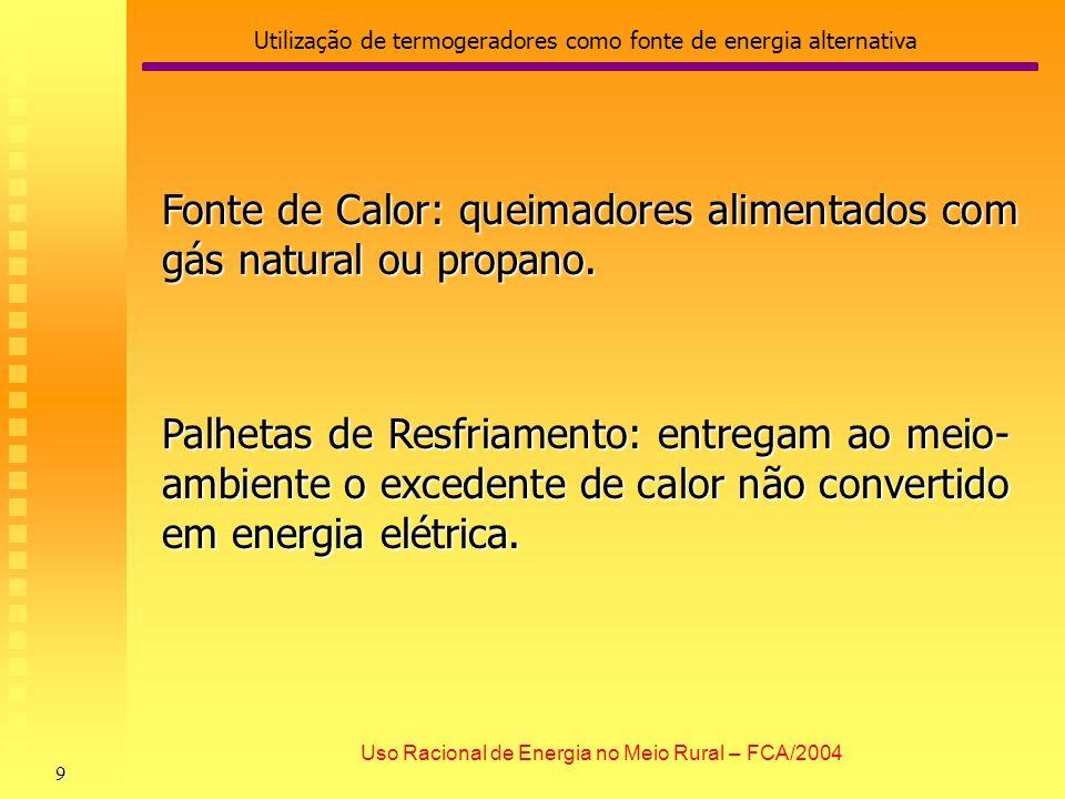 Utilização de termogeradores como fonte de energia alternativa 9 Uso Racional de Energia no Meio Rural – FCA/2004 Fonte de Calor: queimadores alimenta