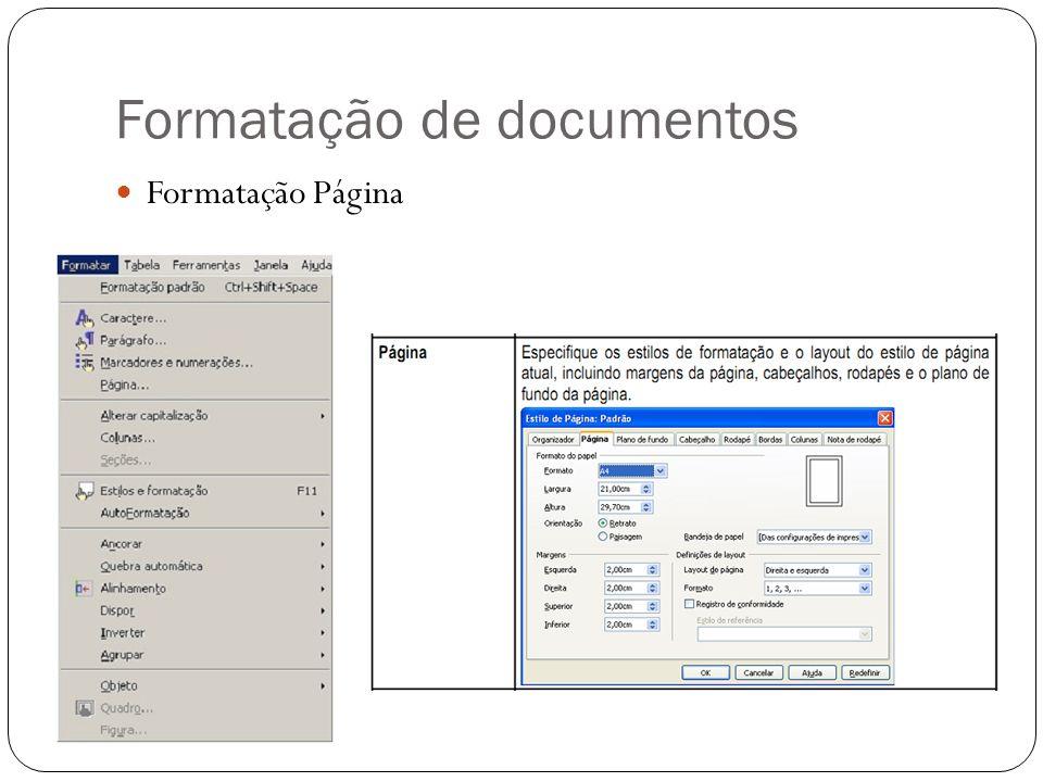 Formatação de documentos Formatação Página