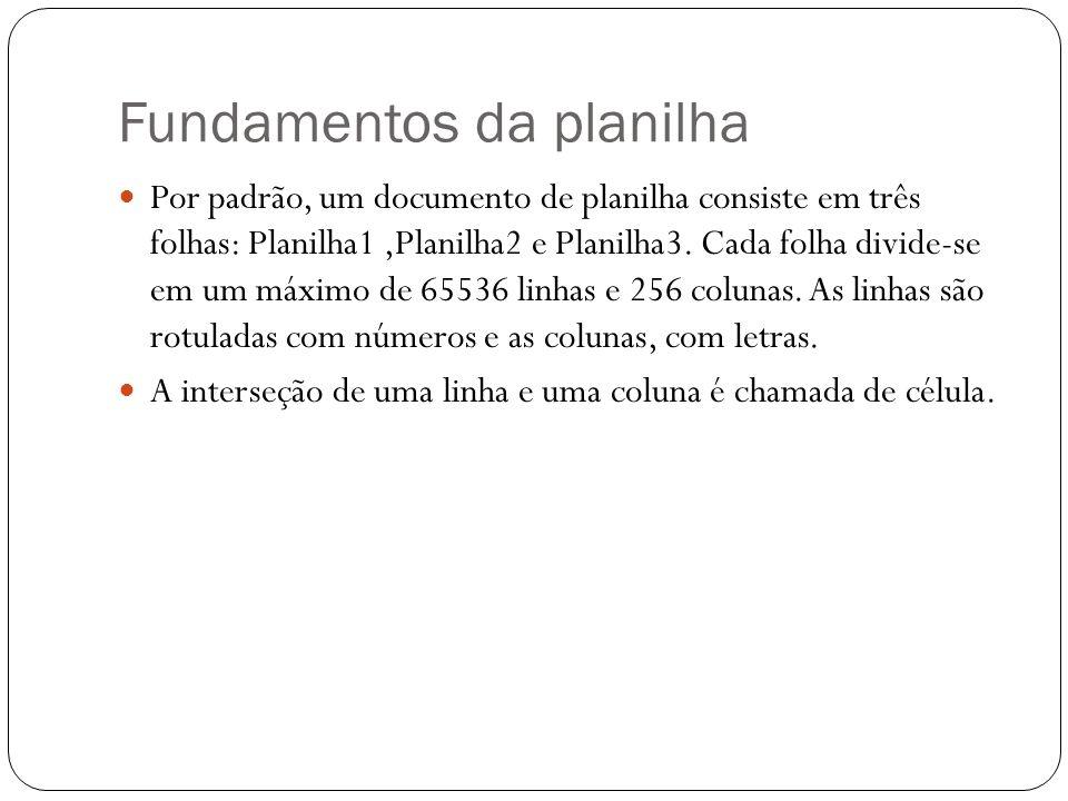 Fundamentos da planilha Por padrão, um documento de planilha consiste em três folhas: Planilha1,Planilha2 e Planilha3. Cada folha divide-se em um máxi