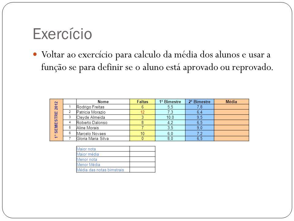 Exercício Voltar ao exercício para calculo da média dos alunos e usar a função se para definir se o aluno está aprovado ou reprovado. 1º SEMESTRE 2012