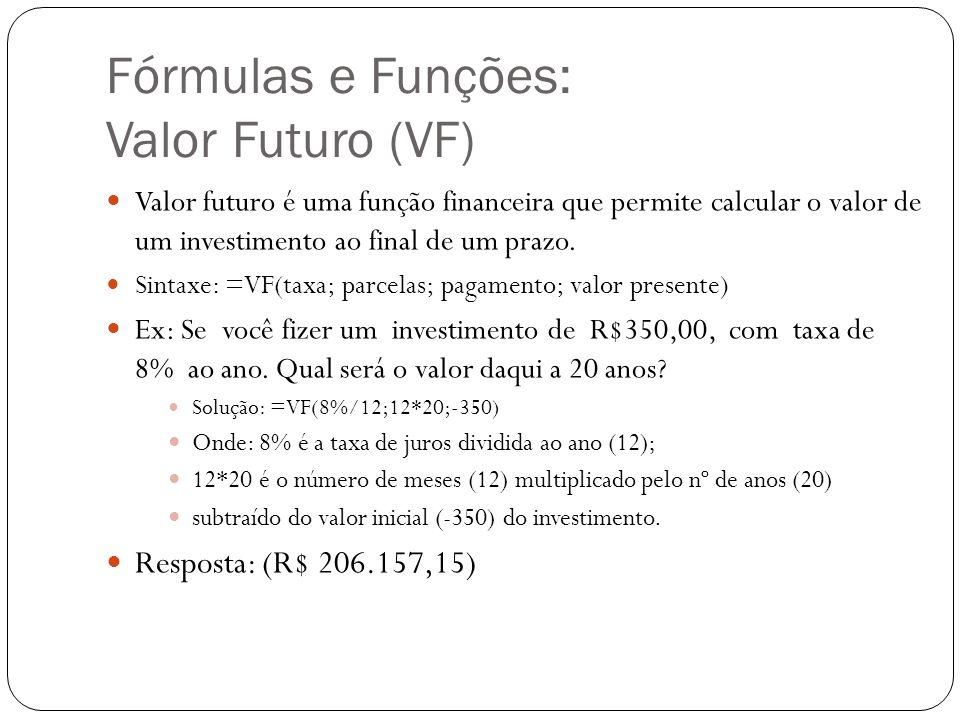 Fórmulas e Funções: Valor Futuro (VF) Valor futuro é uma função financeira que permite calcular o valor de um investimento ao final de um prazo. Sinta