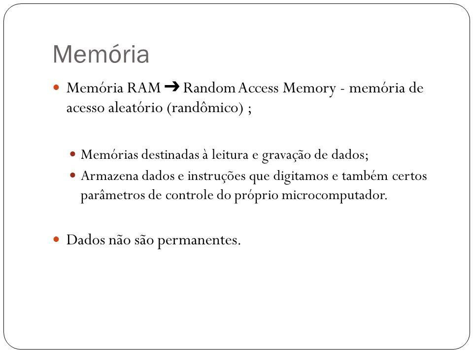 Memória Memória RAM Random Access Memory - memória de acesso aleatório (randômico) ; Memórias destinadas à leitura e gravação de dados; Armazena dados