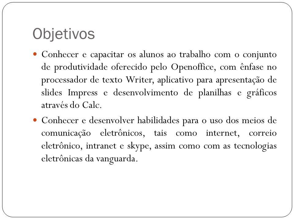 Área de trabalho do BrOffice Barra de Título: Exibe o nome do documento ativo.