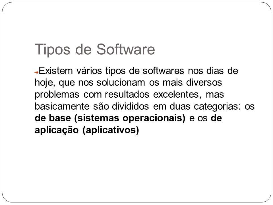 Tipos de Software Existem vários tipos de softwares nos dias de hoje, que nos solucionam os mais diversos problemas com resultados excelentes, mas bas