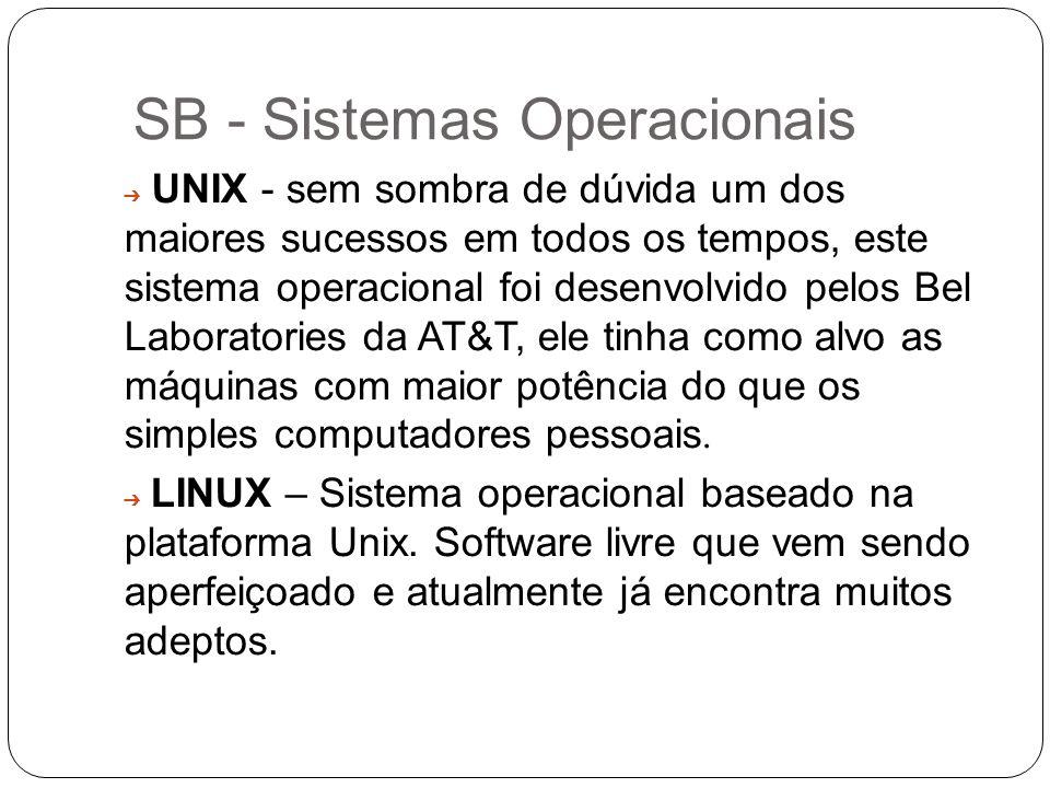 SB - Sistemas Operacionais UNIX - sem sombra de dúvida um dos maiores sucessos em todos os tempos, este sistema operacional foi desenvolvido pelos Bel